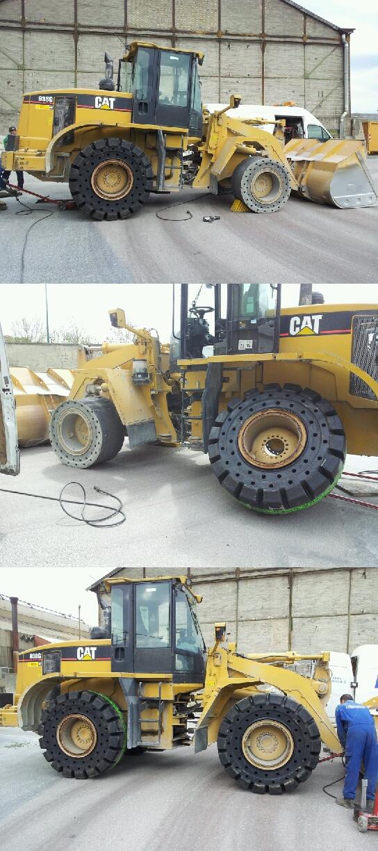 montage, démontage réalisé sur des pneus pleins alvéolés par pneus Industriels