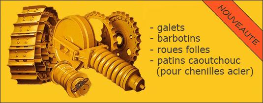Pièces détachées pour mini pelles et chenillards : barbotins, galets et roues folles